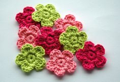 Crochet Flowers in Pink and Lime Green x 9 by AnnieDesign on Etsy