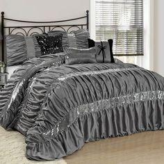 House of Hampton Lowry 7 Piece Comforter Set Colour: Silver, Size: Queen Sequin Bedding, Ruffle Bedding, Grey Bedding, Luxury Comforter Sets, Queen Comforter Sets, Bedroom Sets, Bedroom Decor, Bedrooms, Master Bedroom
