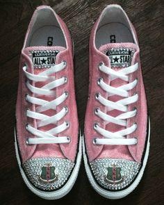 AKA Glitter & Swarovski Crystal Sneakers - Alpha Kappa Alpha Converse Sneakers - Designs by Dee's Hands  - 2