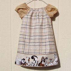 Puppy Love Peasant Dress size 12 months Last One by ArtsyCrafty, $17.50