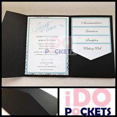 MATTE BLACK WEDDING INVITATIONS DIY POCKET CARDS ENVELOPES INVITE FOLDS