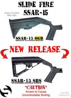 Slide Fire Stock can turn rifle into full auto (legally) Bump Fire Stock, You Magazine, Military Guns, Tactical Gear, The Unit, Zombie Apocalypse, Spikes, Weapons, Survival