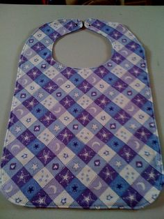 Purple Plaid Flannel Adult Bib by StarBoundWestern on Etsy, Stars Moons $16.00