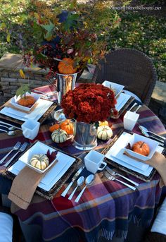 I'm ready for all things fall and that includes fall table settings with warm plaid layers and centerpieces using the bounty of the season with pumpkins, leaves and Indian corn! I pulled toge…
