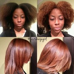 Flat ironed natural hair. Cute but using heat can cause heat damage.