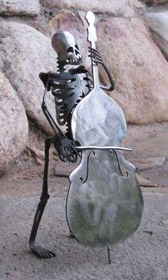 Zombie Skeleton Musician Upright Double Bass by zedszombieranch