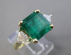ANTIQUE 4.65CTW TRILLION DIAMOND EMERALD 18K GOLD COCKTAIL ENGAGEMENT RING 21485
