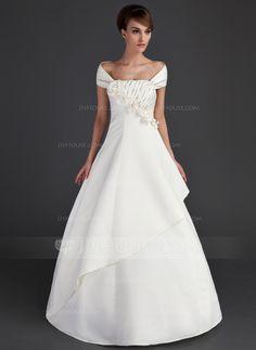 A-Line/Princess Off-the-Shoulder Floor-Length Ruffle Beading Flower(s) Sequins Zipper Up Strapless Sleeveless Church General Plus No Fall Ivory Satin Wedding Dress