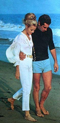 Jane Fonda and Roger Vadim enjoying a romantic stroll in St. Tropez. Jasmin December 1968