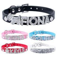 Personalized Leather Cat Collar - DIY Cat Names with Free Name and Charm - free shipping worldwide