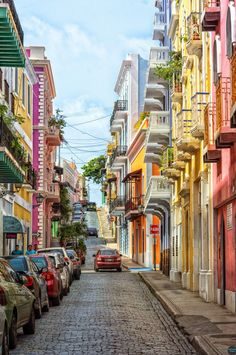 Streets of San Juan, Puerto Rico (by Markus). One of my favorite things about PR.Old San Juan buildings and blue brick road 💙 Places Around The World, Oh The Places You'll Go, Places To Travel, Travel Destinations, Places To Visit, Around The Worlds, Travel Tips, Porto Rico San Juan, San Juan Puerto Rico
