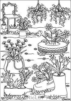 Recycled planters coloring page #recycled #planters #adultcoloring #colouring