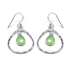 Natural Prehnit chalcedony sterling silver earring