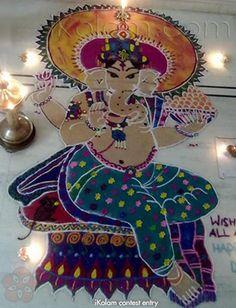 Ganesh rangoli done on diwali 2013 Rangoli Ideas, Rangoli Designs, Ganesh Rangoli, Diwali Photos, Diwali Decorations, Lord Ganesha, Art Forms, Cool Designs, Celebrations