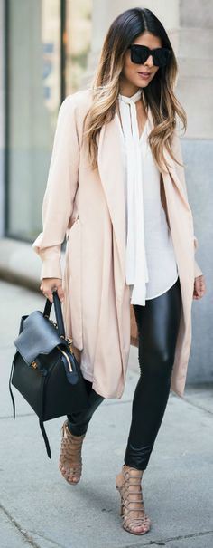 A tie neck blouse + glamorous and authentic style + H&M + fabulous + leather leggings + neutral overcoat + pink toning + casual but sophisticated every day look + Pam Hetlinger. Coat: Mango, Blouse: Leggings: Heels: Schutz.