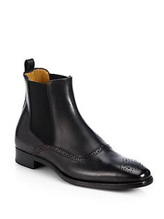 Ralph Lauren Collection Garrison Perforated Leather Boots
