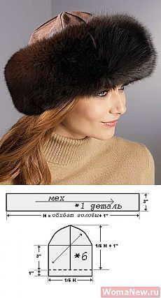 Pattern of a fur cap Hat Patterns To Sew, Sewing Patterns, Sewing Clothes, Doll Clothes, Fleece Hats, Diy Hat, Sewing Lessons, Winter Hats For Women, Turbans
