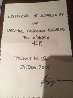 Handmade Certificate by Oliver Muenzenmayer Handmade Handbags, Certificate, Diy Projects, Handmade Bags, Handyman Projects, Handmade Crafts, Diy Crafts, Handmade Purses