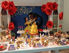 What an elegant Beauty and the Beast Birthday Party! Love the dessert table! Se… What an elegant Beauty and the Beast Birthday Party! Beauty And Beast Birthday, Beauty And The Beast Theme, Beauty And The Best, Princesse Party, Disney Princess Birthday, Bday Girl, Dessert Table, Birthday Parties, 16th Birthday