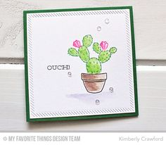 Handmade card from Kimberly Crawford featuring Laina Lamb Design Sweet Succulents stamp set #mftstamps