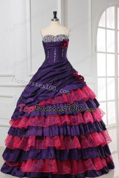 Red and Purple Sweetheart Beading and Ruffles Layered Quinceanera Dress - US$196.58