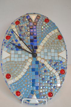 Hey, I found this really awesome Etsy listing at https://www.etsy.com/listing/248001682/mosaic-wall-clock-oval-handmade-8-12-x