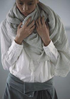 Glad Rags | White | Shirt | Gray | Linen | Scarf