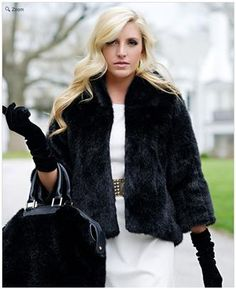 """Black Mink Perfect Little Faux Fur Jacket. Fun, fashionable bracelet-length sleeves and a cozy collar put perfection in this 22"""" faux fur jacket. A slight A-line shape in body is mirrored in slight bell-shape sleeves. For more pics go to: www.imageshack.com"""