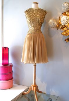 Vintage 1960's Dress // 60's Gold Bead and by xtabayvintage, $298.00