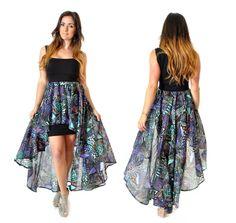 Robe cascade sweetheart en coton noir et imprimé : Robe par gwaelonna dress maxi aztek