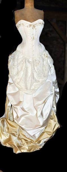 Ivory Wedding Dress Corset & Bustle Skirt by LaBelleFairy on Etsy, $1850.00