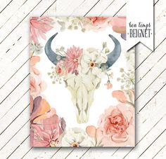 Printable watercolor bull cow skull with flower crown and border - $5.50 instant download - Bon Temps Beignet