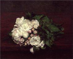 Flowers, White Roses - Henri Fantin-Latour