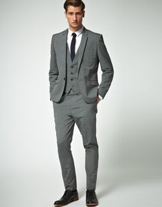 Grey 3 Piece Suit Slim Fit