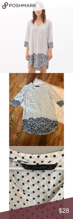 Zara printed polka dot paisley design tunic Zara tunic with polka dot paisley design. White with navy blue. 3/4 sleeves. Lightweight and great for summer. In excellent condition. Size large. Zara Tops Tunics