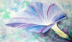 Morning Glory Glow  Fine Art original watercolor by CheyAnneSexton, $175.00
