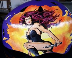 McSassin's Creed: custom painted roller derby helmet Rose City Rollers Pinup art Superhero