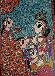 Matt or glossy won't even begin to describe the natural stone tiles that will recreate this beautiful Madhubani artwork The Party by Bharti Dayal. Soon, you'll have a unique mosaic that will make your space spectacular. Madhubani Art, Madhubani Painting, Krishna Painting, Indian Folk Art, Indian Artist, Kalamkari Painting, Indian Paintings, Tribal Art, Artist Art