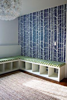 bookcase turned seating-storage unit: yes, please
