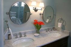 Tilting mirrors in your bathroom will save space and let you see all the angles you need. Here are 11 other bathroom mirror ideas for your home. Bathroom Hacks, Bathroom Renos, Bathroom Renovations, Master Bathroom, Bathroom Mirrors, Bathroom Ideas, Pretty Room, Traditional Bathroom, Decorating On A Budget