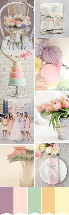 Pastel Wedding Colours - the perfect light Spring Tulip wedding color Palette | www.onefabday.com