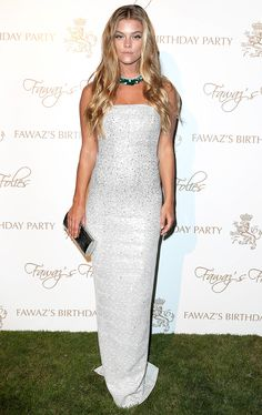 Model Nina Agdal wore our Ziani Knit Gown from the Pre-Fall collection while attending Fawaz Gruosi's Birthday Celebration in Porto Cervo, Italy.