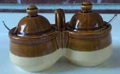 Vintage Jam/Jelly Jar or Mustard Pot with Carrying Handle and 2 Lids in Classic Brown and Cream Stoneware