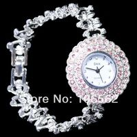 Women dress watch SKK Antique Silver Crystal Rhinestone Girls Lady Alloy Quartz Adjustable Wrist Watch Fashion Bracelet Gift
