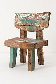 Reclaimed Boat Chair I really just want to find some freaking wood and nail it together and then sit on it while I paint sloppily. Wood Furniture, Furniture Design, Outdoor Furniture, Palette Deco, Wooden Stools, Into The Woods, Take A Seat, Wood Art, Repurposed