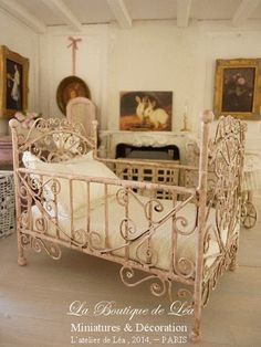Shabby pale PINK baby bed, sweet nursery, French dollhouse miniature furniture 1:12th scale on Etsy, $97.10