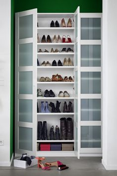BERGSBO door – frosted glass, white – IKEA Germany - home diy apartment Closet Ikea, Shoe Closet, Billy Ikea, Hanging Shoe Rack, Shoe Racks, Ikea Pax, Shoe Cabinet, Shoe Storage Cabinet With Doors, Wooden Pallet Projects