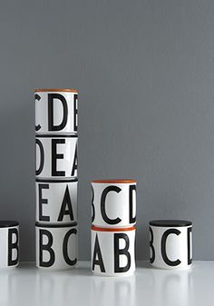 Storage jar with letters ABCDE in black typography. Size with wooden lid. Scandinavian design by Design Letters Arne Jacobsen, Jar Design, Glass Design, Nordic Design, Scandinavian Design, Eames, Lettering Design, Design Letters, Contemporary Home Decor