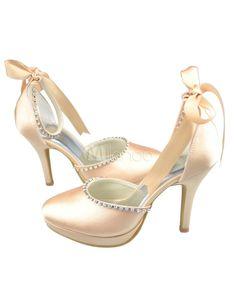 Champagne Rhinestone Ankle Strap Bow Satin Wedding Sandals a02cf23a2384