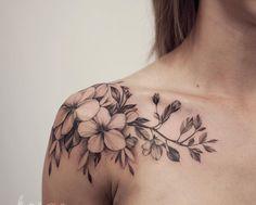 Shoulder Tattoos For Women Sleeve, Feminine Shoulder Tattoos, Back Tattoo Women, Dove Tattoos, Black Tattoos, Girl Tattoos, Tatoos, Flower Bouquet Tattoo, Flower Tattoo Shoulder